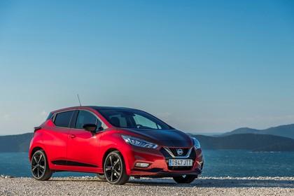 Nissan Micra K14 Aussenansicht Front schräg statisch rot