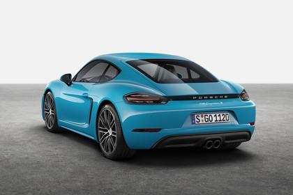 Porsche 718 Cayman S 982 Heck schräg statisch Studio blau