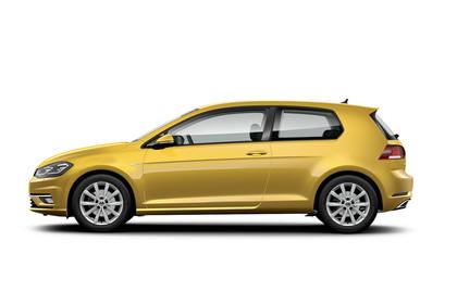 VW Golf 7 Facelift Dreitürer Aussenansicht Seite Studio statisch gold