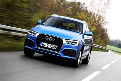 Audi Q3 Aussenansicht Front dynamisch blau
