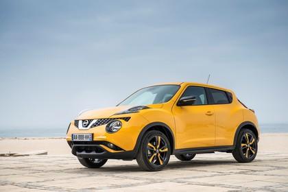 Nissan Juke (F15) Aussenansicht Front schräg statisch gelb