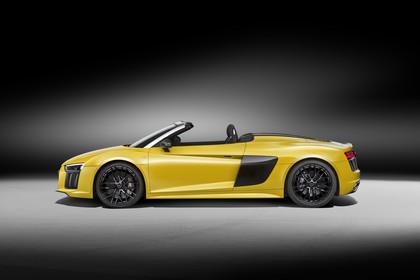 Audi R8 Spyder Aussenansicht Seite statisch gelb
