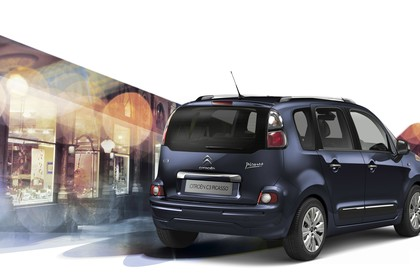 Citroën C3 Picasso SH Aussenansicht Heck schräg statisch Studio blau