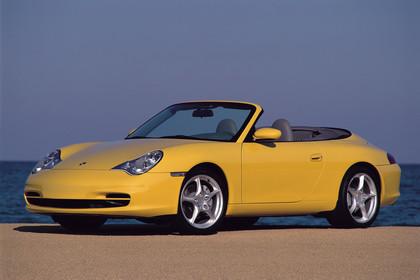 Porsche 911 (996) Cabrio Aussenansicht Front schräg statisch gelb