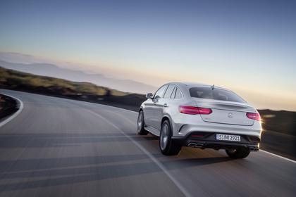 Mercedes-Benz GLE Coupe C292 Aussenansicht Heck dynamisch silber