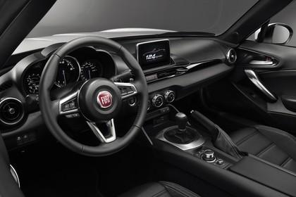 Fiat 124 Spider Innenansicht statisch Studio Vordersitze und Armaturenbrett fahrerseitig
