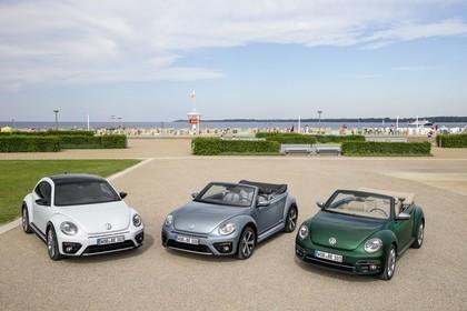 VW Beetle Aussenansicht drei Modelle Front erhöht statisch grün silber weiss