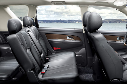Ssangyong Rexton W Innenansicht statisch 3. Sitzreihe Rücksitze Vordersitze und Armaturenbrett beifahrerseitig